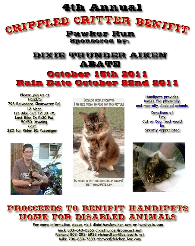 Annual Crippled Critter Benefit Run for Handipets Sanctuary